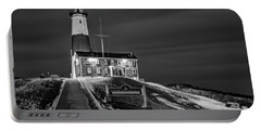 Portable Battery Charger featuring the photograph Montauk Point Lighthouse Bw by Susan Candelario