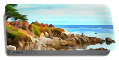 Portable Battery Charger featuring the photograph Monterey Coastline Watercolor by Floyd Snyder