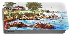 Portable Battery Charger featuring the painting Monterey Shore by Irina Sztukowski