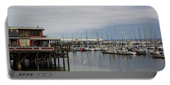 Portable Battery Charger featuring the photograph Monterey Wharf Meets Harbor by Suzanne Luft