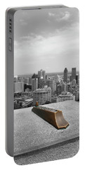 Montreal Cityscape Bw With Color Portable Battery Charger