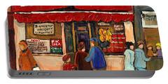 Montreal Hebrew Delicatessen Schwartzs By Montreal Streetscene Artist Carole Spandau Portable Battery Charger