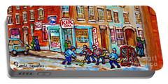 Montreal Storefront Paintings Debullion Street Hockey Art Quebec Winterscenes C Spandau Canadian Art Portable Battery Charger