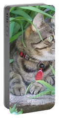 Portable Battery Charger featuring the photograph Monty In The Garden by Jolanta Anna Karolska