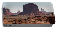 Monument Valley Man On Horse Sunrise  Portable Battery Charger