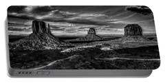 Monument Valley Views Bw Portable Battery Charger