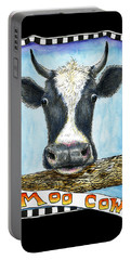 Portable Battery Charger featuring the drawing Moo Cow In Black by Retta Stephenson