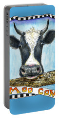 Portable Battery Charger featuring the drawing Moo Cow In Blue by Retta Stephenson