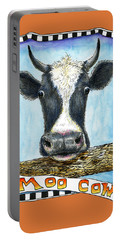 Portable Battery Charger featuring the painting Moo Cow In Orange by Retta Stephenson