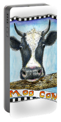 Portable Battery Charger featuring the painting Moo Cow by Retta Stephenson