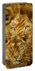 Portable Battery Charger featuring the mixed media Moods Of Africa - Lions 2 by Carol Cavalaris