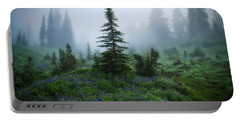 Portable Battery Charger featuring the photograph Moody Myrtle Falls Trail At Mount Rainier by Lynn Hopwood