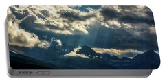 Moody Sunrays Over Glacier National Park Portable Battery Charger
