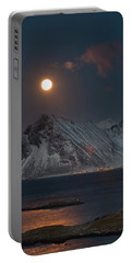 Moon And Mountains In Lofoten Portable Battery Charger