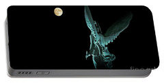 Super Moon And Winged Goddess Of Victory Portable Battery Charger by Charline Xia
