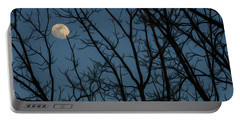 Moon At Dusk Through Trees - Impressionism Portable Battery Charger