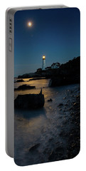 Portable Battery Charger featuring the photograph Moon Light Over The Lighthouse  by Emmanuel Panagiotakis
