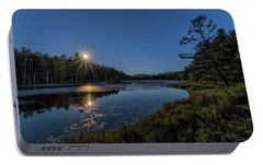 Portable Battery Charger featuring the photograph Moon On North Pond Road by Tom Singleton