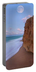 Moon Over Hutchinson Island Beach Portable Battery Charger by Justin Kelefas