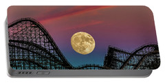 Moon Over Wildwood Nj Portable Battery Charger by Nick Zelinsky