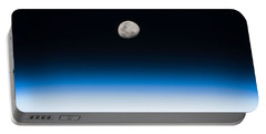 Portable Battery Charger featuring the painting Moon Rise From The Space Station By Nasa by Celestial Images