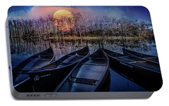 Portable Battery Charger featuring the photograph Moon Rise On The River by Debra and Dave Vanderlaan