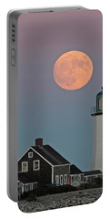 Moon Rise Over Scituate Portable Battery Charger