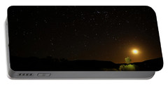 Moon Set Over Palm Valley Portable Battery Charger by Paul Svensen
