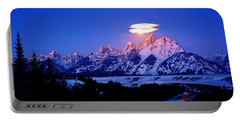 Moon Sets At The Snake River Overlook In The Tetons Portable Battery Charger