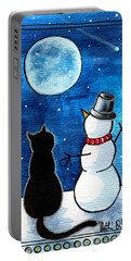 Moon Watching With Snowman - Christmas Cat Portable Battery Charger