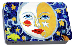 Portable Battery Charger featuring the painting Moonface With Wolf And Stars by Genevieve Esson