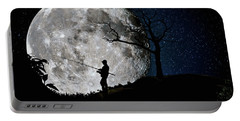 Moonlight Fishing Under The Supermoon At Night Portable Battery Charger