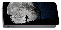 Moonlight Fishing Under The Supermoon At Night Portable Battery Charger by Justin Kelefas