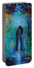Portable Battery Charger featuring the painting Moonlight Kiss by Leslie Allen