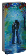 Portable Battery Charger featuring the painting Moonlight Kiss Series 1 by Leslie Allen
