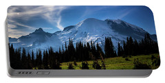 Moonlight On Mt Rainier Portable Battery Charger