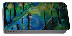 Portable Battery Charger featuring the painting Moonlight Stroll by Leslie Allen