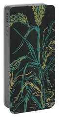 Portable Battery Charger featuring the mixed media Moonlight Wheat by Vicki  Housel