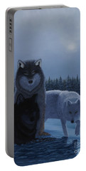 Portable Battery Charger featuring the painting Moonlight Wolves by Stanza Widen