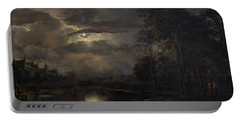 Moonlit Landscape With Bridge Portable Battery Charger