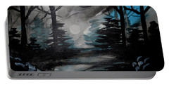 Moonlit Midnight Forest Portable Battery Charger by Carol Crisafi