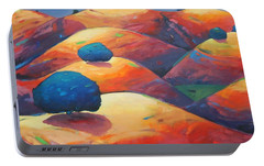 Portable Battery Charger featuring the painting Moonlit Rollers by Gary Coleman