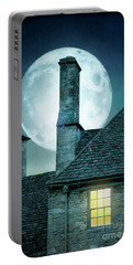 Moonlit Rooftops And Window Light  Portable Battery Charger by Lee Avison