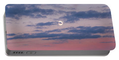 Moonrise In Pink Sky Portable Battery Charger
