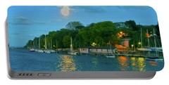 Portable Battery Charger featuring the photograph Moonrise Over Nothe Fort by Anne Kotan