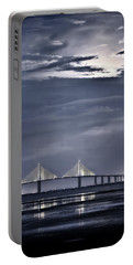 Moonrise Over Sunshine Skyway Bridge Portable Battery Charger