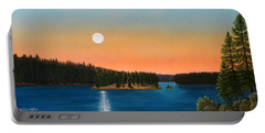 Moonrise Over The Lake Portable Battery Charger