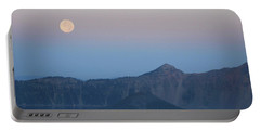 Moonset At Crater Lake Portable Battery Charger