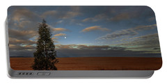 Moonset  In A Large Morning Sky Portable Battery Charger