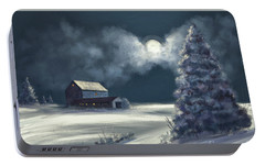 Portable Battery Charger featuring the digital art Moonshine On The Snow by Lois Bryan
